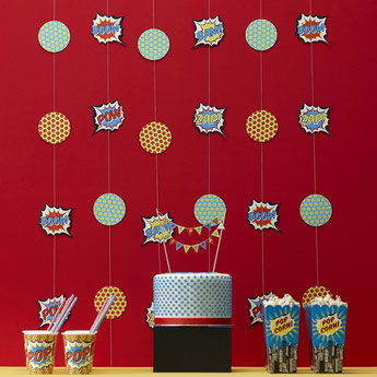 GUIRLANDE, ROSACES DECO ANNIVERSAIRE GARCON-GARLANDS BOY PARTY DECORATION