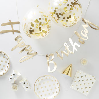 DECORATION ANNIVERVAIRE ADULTE BLANC ET OR- WHITE AND GOLD ADULT BIRTHDAY DECORATION