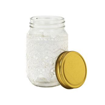 POT EN VERRE ESPRIT MASON JAR DENTELLE BLANCHE DECO BABY SHOWER BAPTEME ANNIVERSAIRE - LACE POT PARTY DECORATION