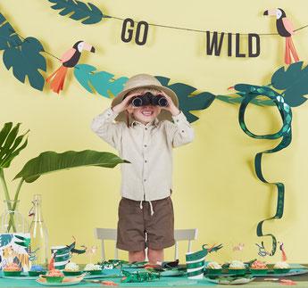 deco anniversaire garçon 1 an thème jungle, safari