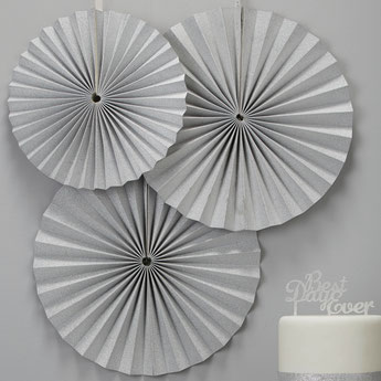 3 rosaces décoratives argent deco baby shower bapteme anniversaire - silver party decoration