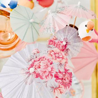 24 parasols pastels pour deco fête anniversaire- pastel party decoration