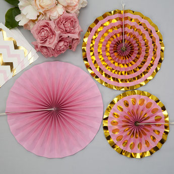 ROSACES PASTEL ROSE ET DOREES DECO ANNIVERSAIRE- GOLD AND PINK PASTEL DECORATION