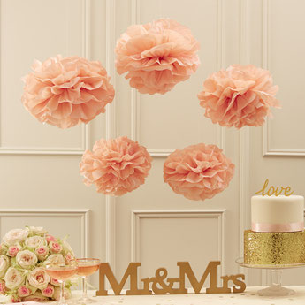 POMPONS PAPIER DE SOIE ROSE CLAIR - DECO BABY SHOWER BAPTEME ANNIVERSAIRE - PINK PASTEL POMPOMS PARTY DECORATION