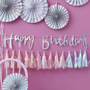 GUIRLANDE HAPPY BIRTHDAY IRISEE ARGENT MULTICOLORE DECO ANNIVERSAIRE- IRIDESCENT HAPPY BIRTHDAY GARLAND