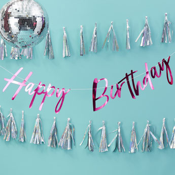 guirlande happy birthday fuchsia deco anniversaire - happy birthday garland