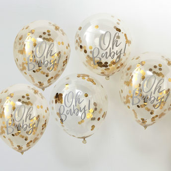 ballons avec écriture Oh baby et confettis dorés deco baby shower - baby shower decoration boy or girl