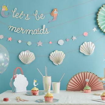 anniversaire fille theme sirene decoration de table et de salle meri meri