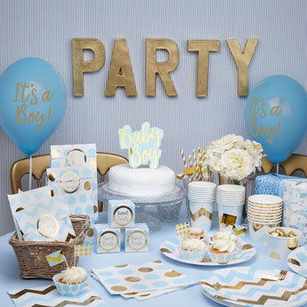 DECO BABY SHOWER Garçon BLEU ET OR- boy baby shower party