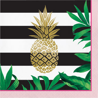 deco fête tropicale serviettes ananas - tropical party decoration