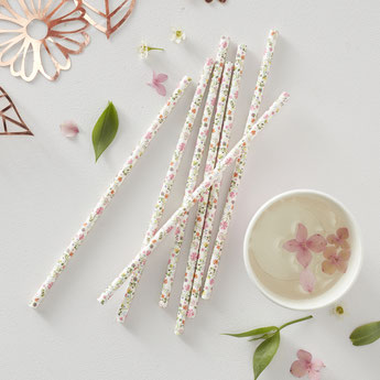 pailles à fleurs theme bohème deco baby shower bapteme anniversaire- flowers paper straws baptism party birthday