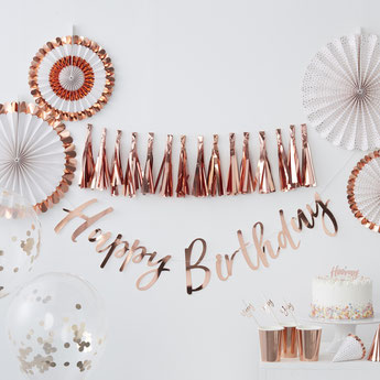 DECORATION ANNIVERSAIRE ADULTE ROSE DORE, ROSE GOLD- ROSE GOLD PARTY BIRTHDAY DECORATION