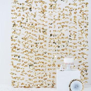 rideau feuilles dorées deco baby shower bapteme anniversaire