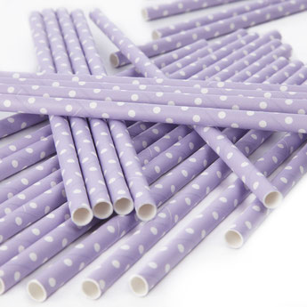 PAILLES PASTELS POIS BLANCS DECO BABY SHOWER ANNIVERSAIRE- PASTEL PAPER STRAWS WHITE DOTS PARTY DECORATION