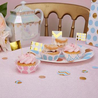 decoration-gateau-bapteme-fille-ou-garcon-cake-topper-pois-et-chevrons-dores