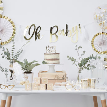BABY SHOWER BLANC ET OR- DECO BABY SHOWER BLANC ET OR-GOLD AND WHITE BABY SHOWER PARTY DECORATION
