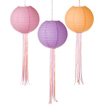 3 LAMPIONS EN PAPIER COULEUR MALIBU PASTEL- PASTEL PARTY DECORATION