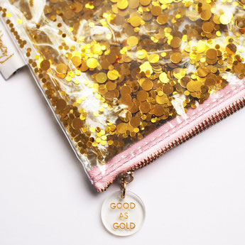 pochettes paillettes dorées- idées cadeaux fille- good as gold pouch gold confetti girl idea gift