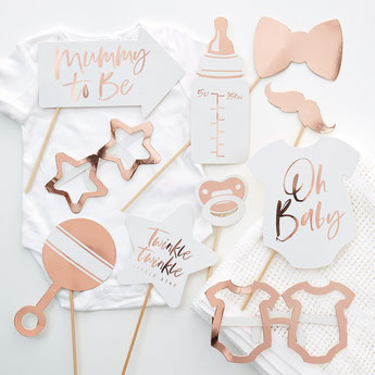 DECORATION BABY SHOWER ROSE DORE, ROSE GOLD- ROSE GOLD BABY SHOWER DECORATION