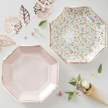 DECO ANNIVERSAIRE FLEURS BOHEME ROSE GOLD- DITSY FLOWERS AND ROSE GOLD PARTY DECORATION