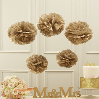 5 POMPONS EN PAPIER DE SOIE DORE DECO FETE ANNIVERSAIRE- GOLD POMPOMS PARTY DECORATION