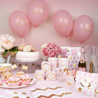DECORATION ANNIVERSAIRE FILLE ROSE ET DORE- PINK AND GOLD GIRL BIRTHDAY PARTY DECORATION