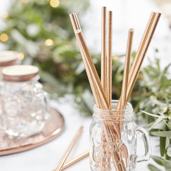 25 PAILLES ROSE GOLD DECO BABY SHOWER ANNIVERSAIRE- ROSE GOLD STRAWS BABY SHOWER BIRTHDAY