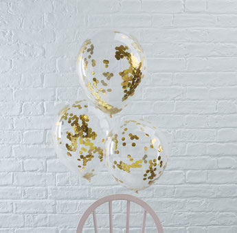 BALLONS TRANSPARENTS AVEC CONFETTIS DORES DECO ANNIVERSAIRE- GOLD CONFETTIS BALLOONS PARTY DECORATION