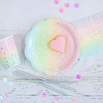 deco baby shower bapteme anniversaire irisé pastel licorne, sirène- unicorn or mermaid pastel party decoration