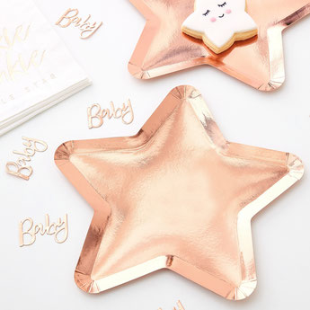 vaisselle-baby-shower-assiettes-etoiles-rose-gold