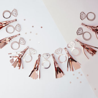 guirlande rose gold deco evjf enterrement de vie de jeune fille - bachelor party girl garland