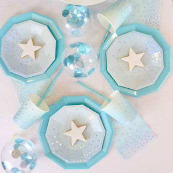 DECO BABY SHOWER GARCON BLEU CIEL ARGENT- SILVER AND BLUE BOY BABY SHOWER DECORATION