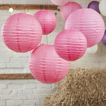 lampions rose deco baby shower bapteme anniversaire - pink lantern for party decoration