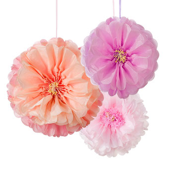3 POMPONS FLEURS PASTELS EN PAPIER DE SOIE DECORATION ANNIVERSAIRE- PASTEL PARTY DECORATION