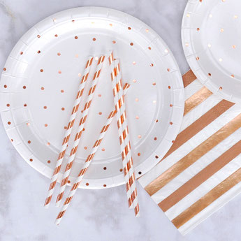 pailles rayées rose gold pour decoration anniversaire baby shower