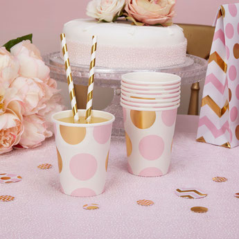 deco baby shower fille pastel rose et or - pink and gold girl baby shower
