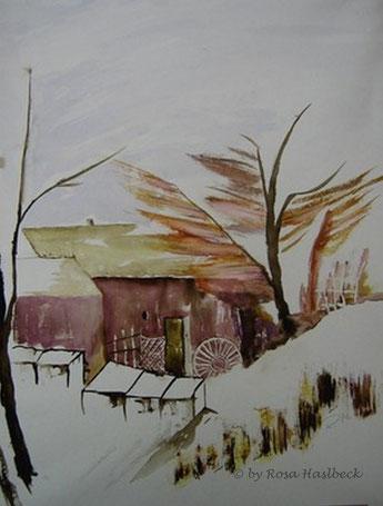 aquarell, landschaft, landschaftsaquarell, haus, bäume, braun, sturm, winter, winterlandschaft, schnee, bild, kunst, bilder, malerei, malen, deko, dekoration, wandbilder, wand, geschenkidee, geschenke,malen, malerei, handgemalt,
