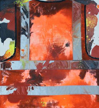 """Walkers #4"", peinture collage, dim. 59cm x 54cm, 2018"