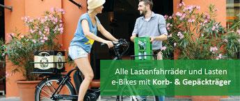 Lastenräder mit Korb und Gepäckträger