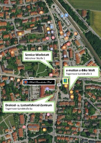 Anfahrtsskizze für das Dreirad- und Lastenfahrrad-Zentrum, die e-motion e-Bike Welt und die Service-Werkstatt in München