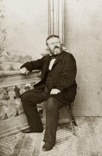 Fritz Reuter 1857, aufgenommen im Atelier Blume in der Treptower Straße.