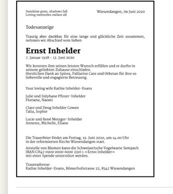 Todesanzeige - Ernst Inhelder