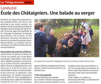 L'école des châtaigniers de Landudal en sortie pédagogique à la Ferme Sainte Cécile