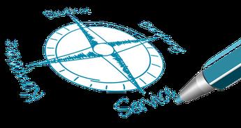 Darstellung eines Kompasses mit den vier Ausrichtungen Kompetenz - Qualität - Beratung - Service