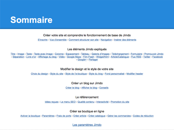 Guide Jimdo - Sommaire