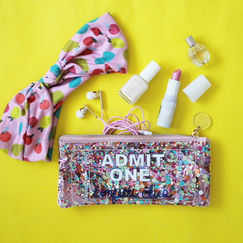 trousse paillettes multicolores- idées cadeaux fille- party pouch admit 1 confetti girl gift idea