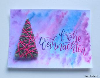 DIY Weihnachtskarte - Tannenbaum umwickeln - eine Anleitung. frohe Weihnachten!
