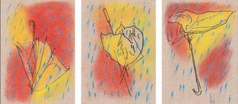 Drei Schirme, 2012, Filzstift und Pastell auf Papier