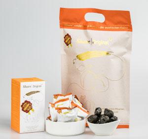 Fermentierte Share Pflaume Verpackung Sackerl und Frucht
