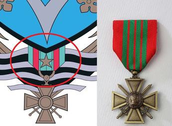 Différence du ruban de la Croix de Guerre des armoiries de Vélizy.